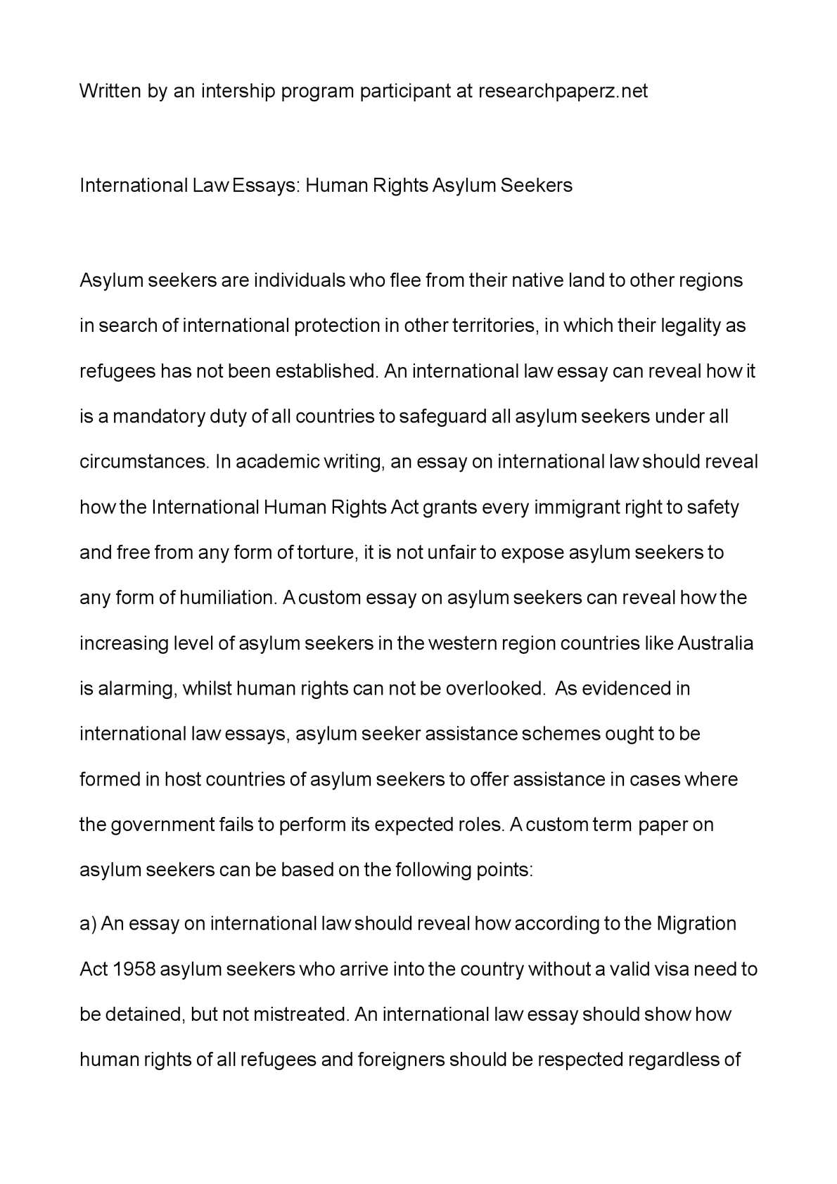 Calamo  International Law Essays Human Rights Asylum Seekers