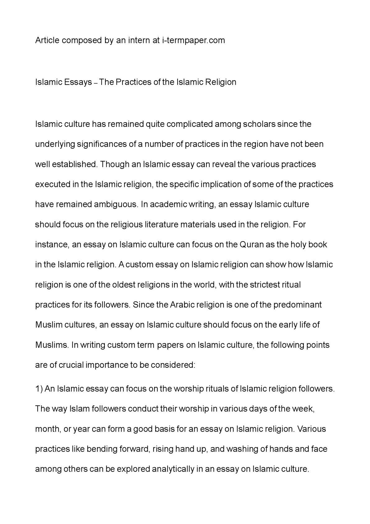 Introduction For An Argumentative Essay  Christmas Descriptive Essay also Day Of The Dead Essay Calamo  Islamic Essays  The Practices Of The Islamic Religion Scholarship Essay Writing