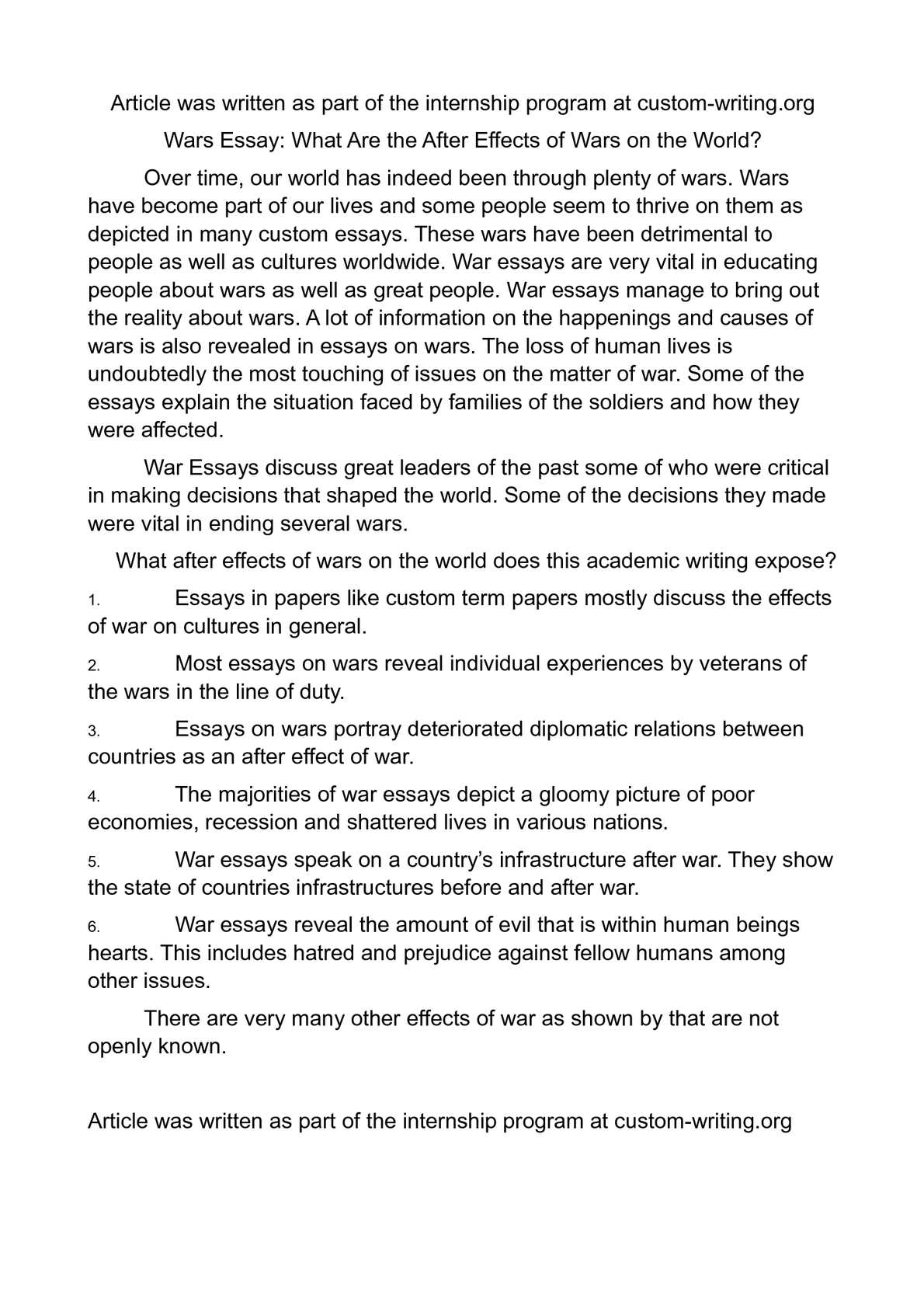 calam eacute o wars essay what are the after effects of wars on the world