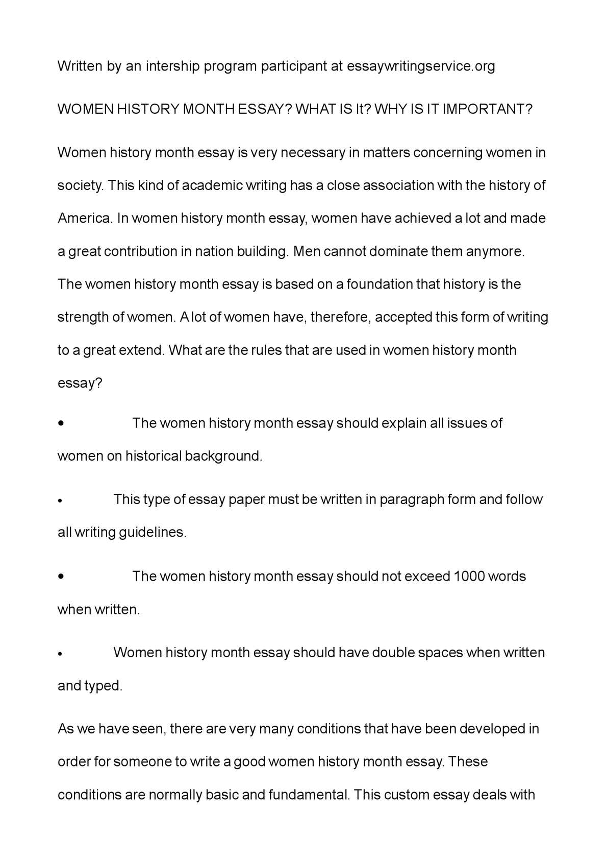essay on women
