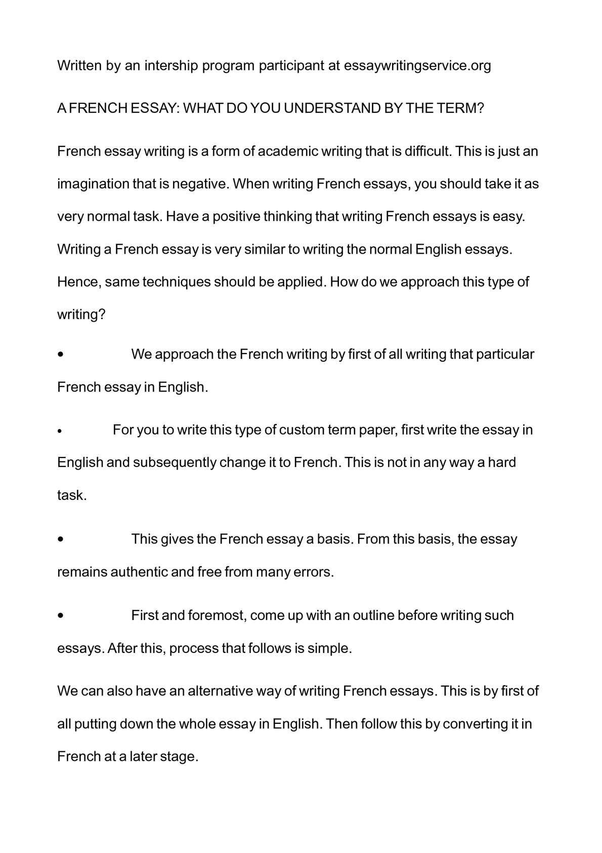 a french essay Essay - traduction anglais-français forums pour discuter de essay, voir ses formes composées, des exemples et poser vos questions gratuit.