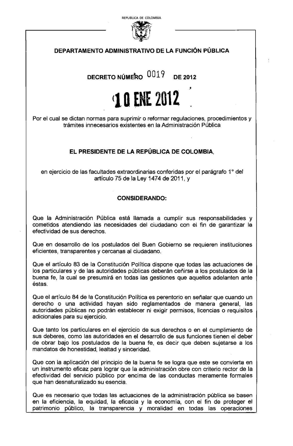 Calaméo - Decreto Ley 0019 de 2012 Suprime y Reforma Trámites
