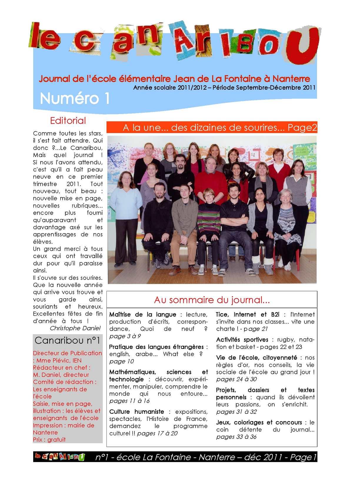 Calam o le canaribou n 1 journal scolaire ecole la for Le journal de la