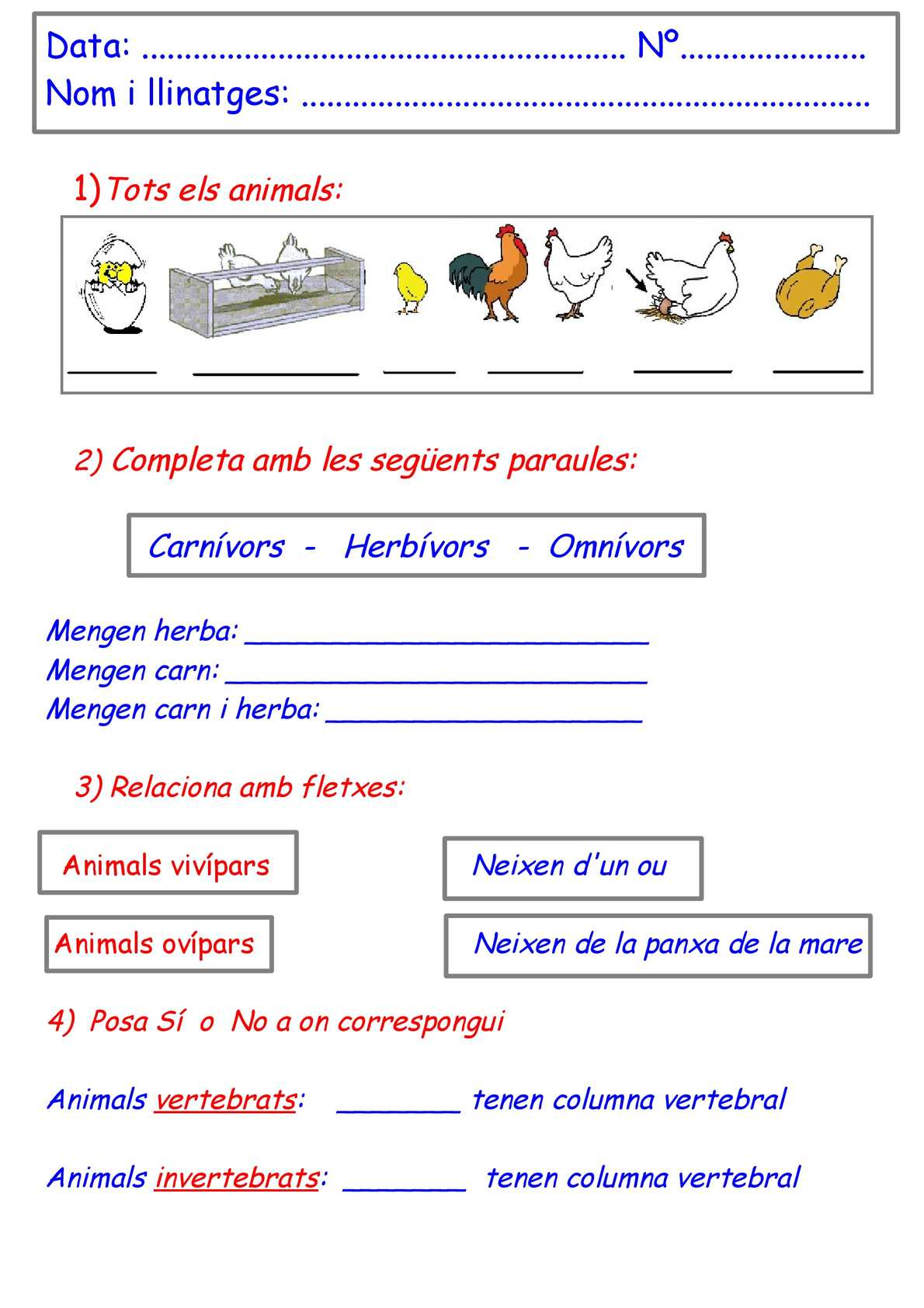 examen adaptat animals