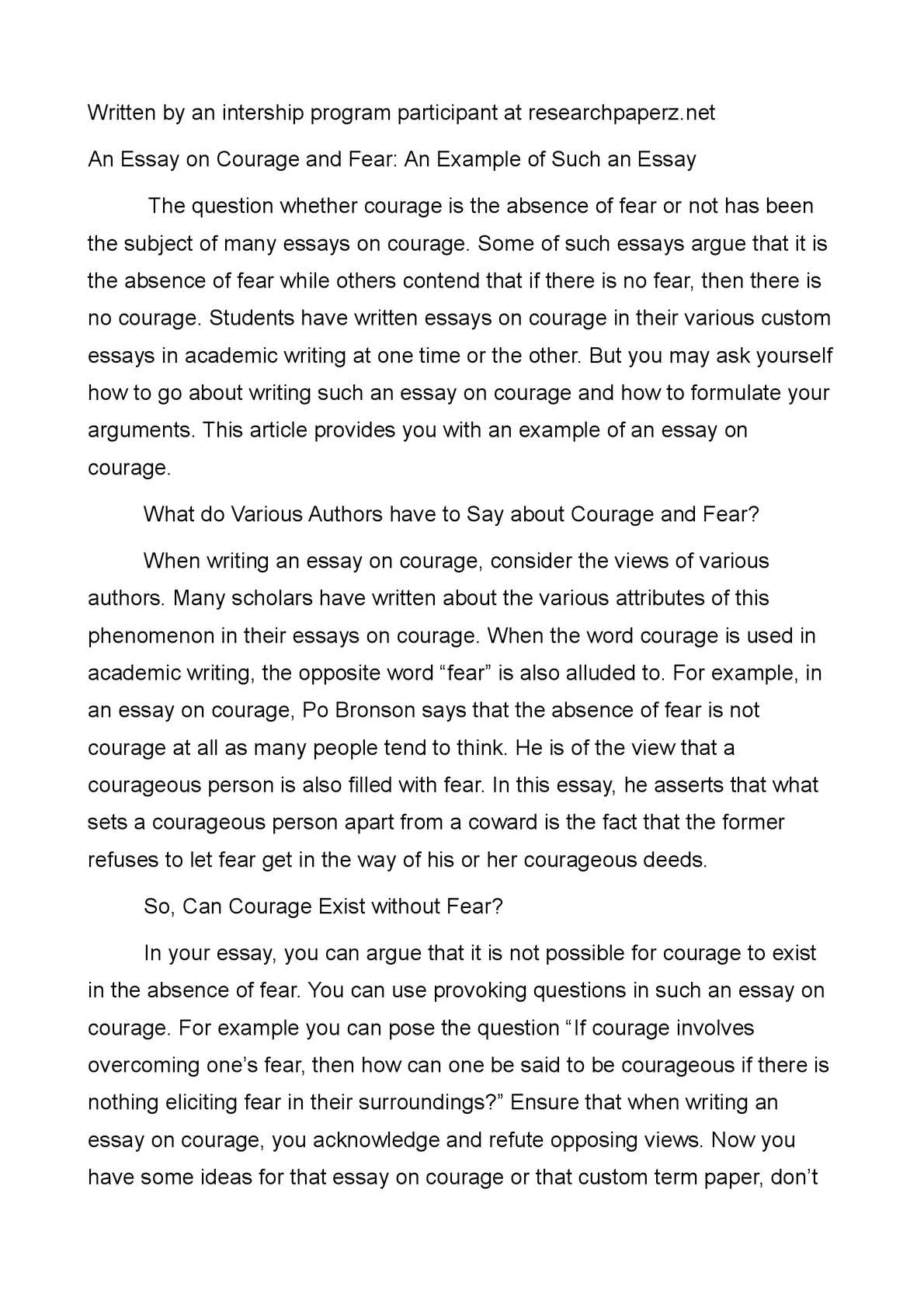 Define courage essay