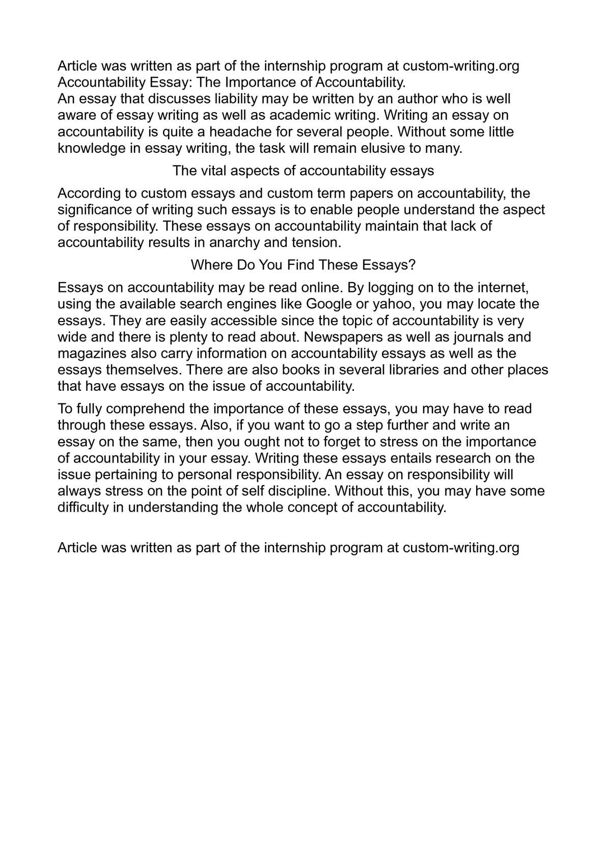 accountability essay example 24 Buy accountability essay paper online based on the article entitled toward an integrated curriculum, there are several aspects that can be helpful when discussing integrated curriculum with teachers as a technique used in curriculum design, integration places a lot of emphasis on vocational.