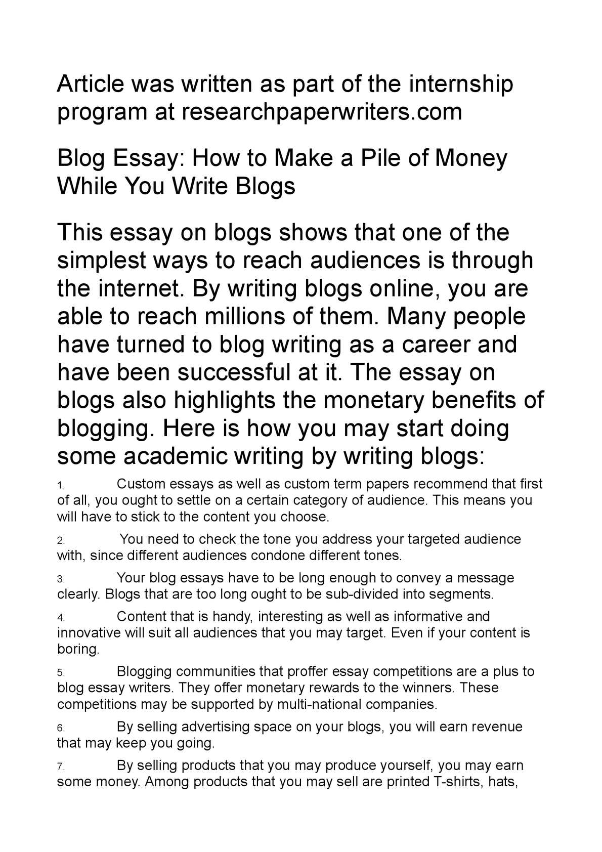 essay on blogs An essay is, generally, a piece of writing that gives the author's own argument — but the definition is vague, overlapping with those of a paper, an article.