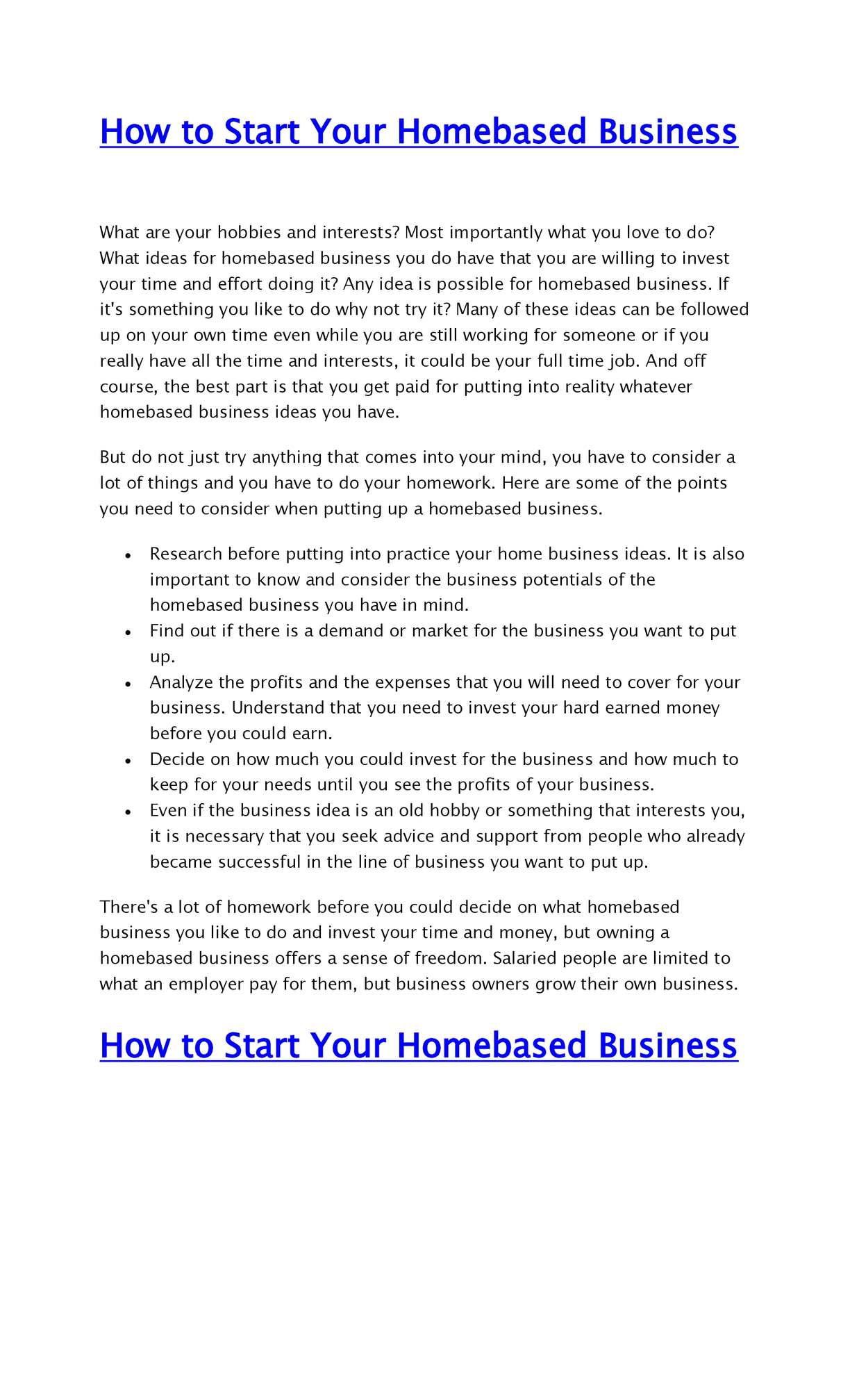 Calaméo - How to Start Your Homebased Business