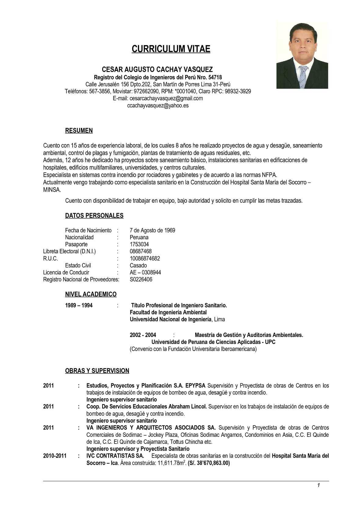 Excepcional Gerente De Proyecto De Construcción Curriculum Vitae ...