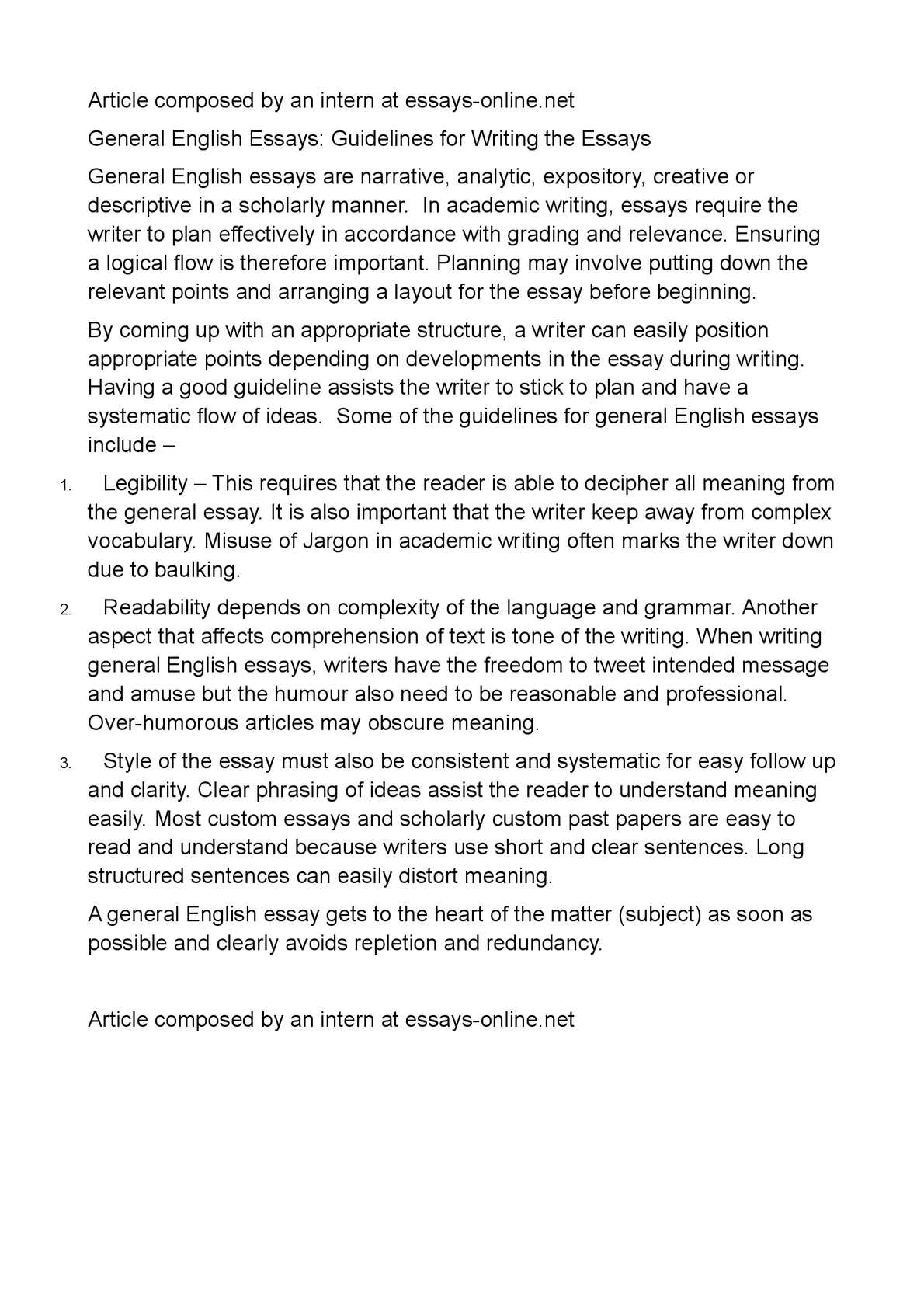 calamo  general english essays guidelines for writing the essays