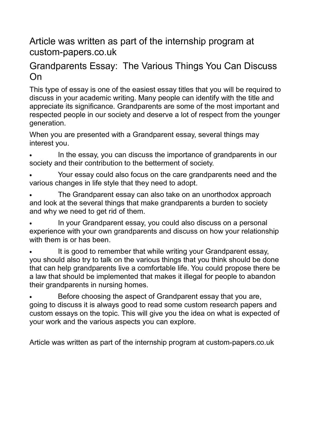 Calam o grandparents essay the various things you can discuss on