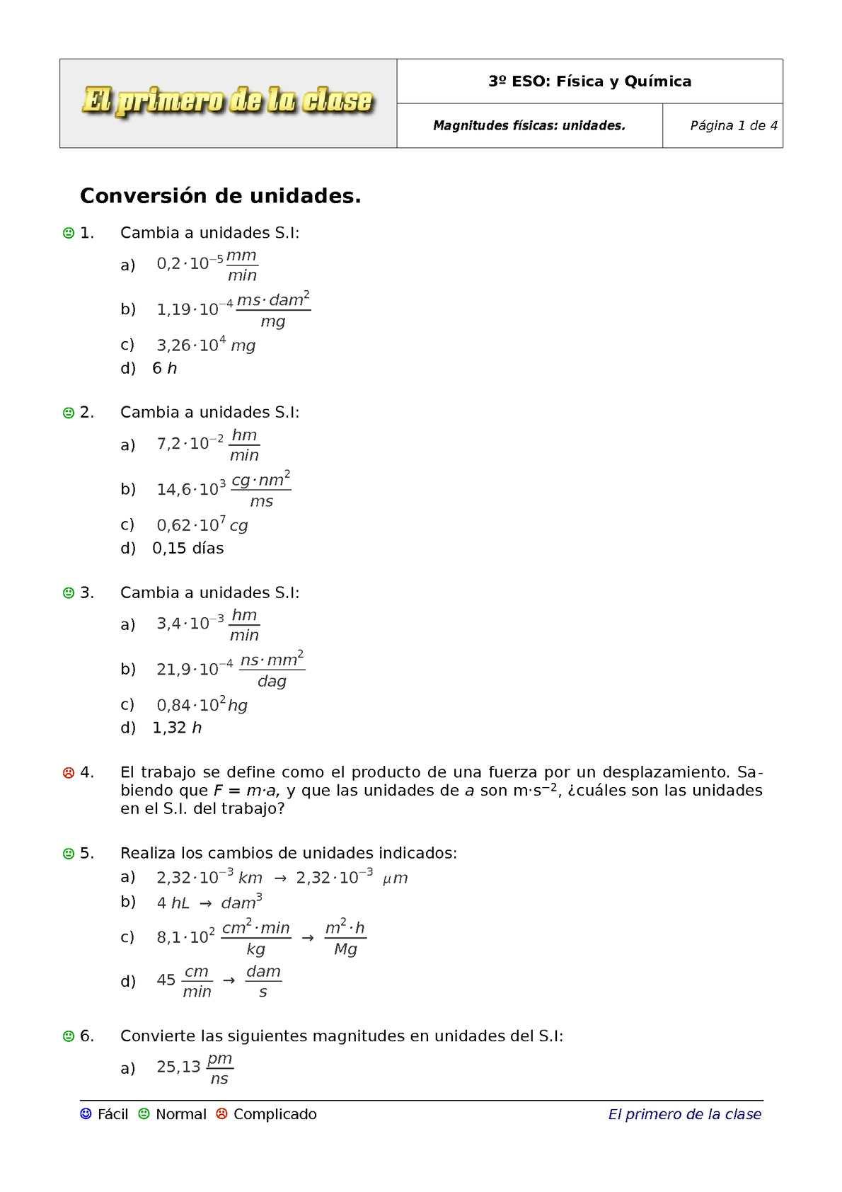 Calam o 3 eso ejercicios magnitudes f sicas 2 - Conversion ca en m2 ...