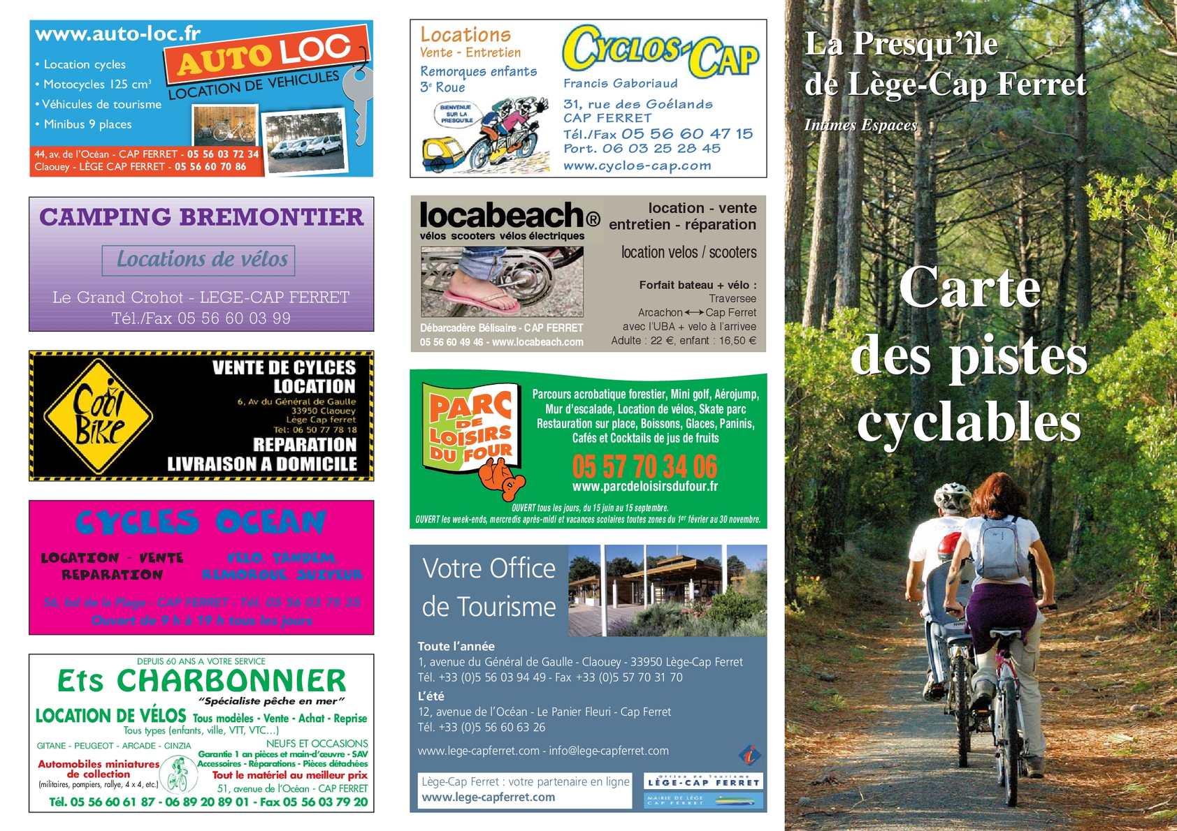 Calam o carte des pistes cyclables - Office de tourisme de lege cap ferret ...