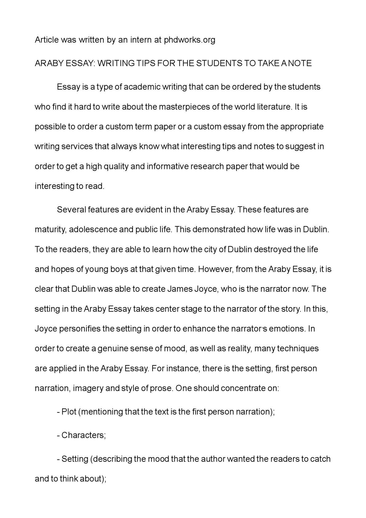 literary analysis of araby essay Literary and character analysis of ulysses by james joyce  araby, eveline, after the race  more about essay about character analysis of james joyce' eveline.