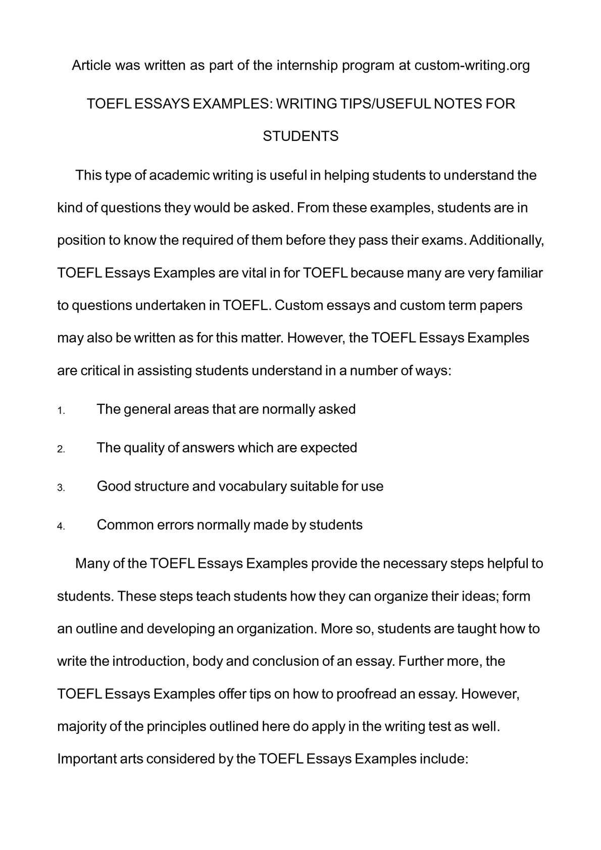 toefl essay writing examples