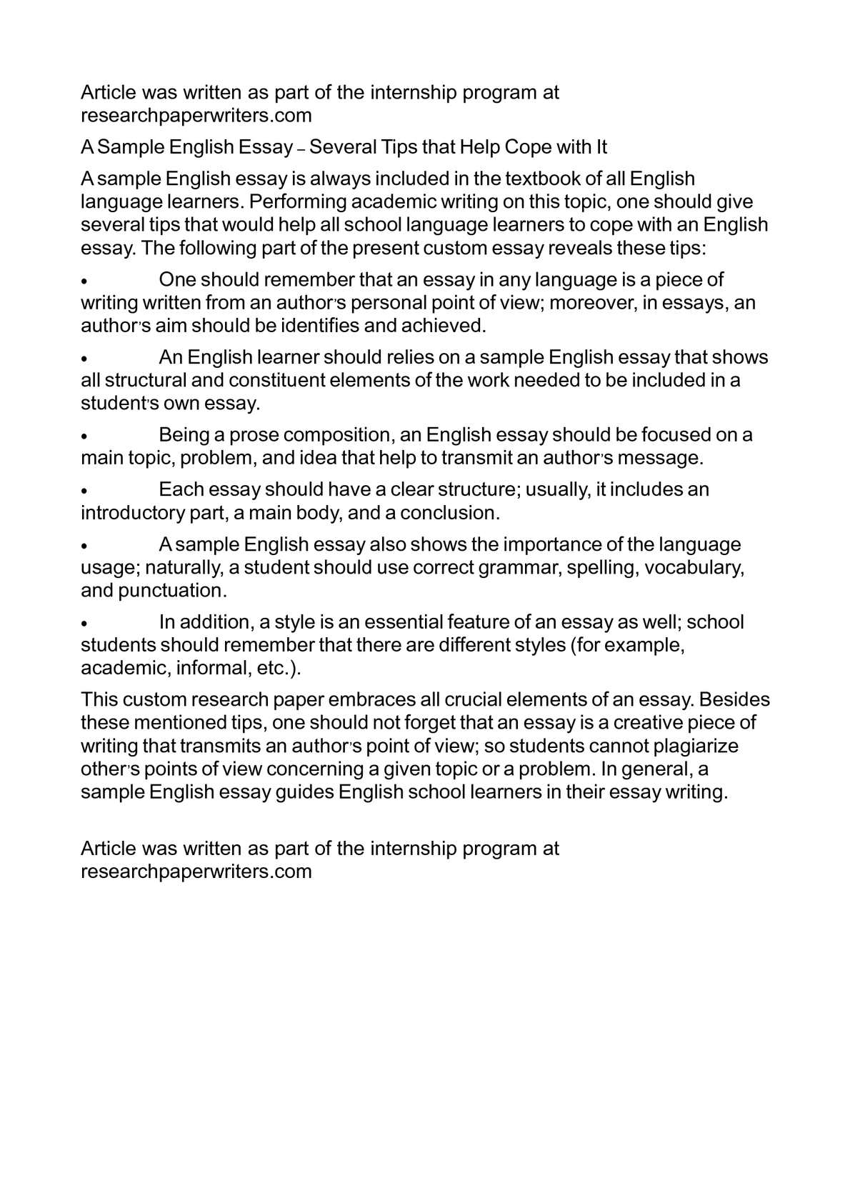 Business Essay Example A Sample English Essay  Several Tips That Help Cope With It Apa Essay Papers also Politics And The English Language Essay Calamo  A Sample English Essay  Several Tips That Help Cope With It Yellow Wallpaper Essays