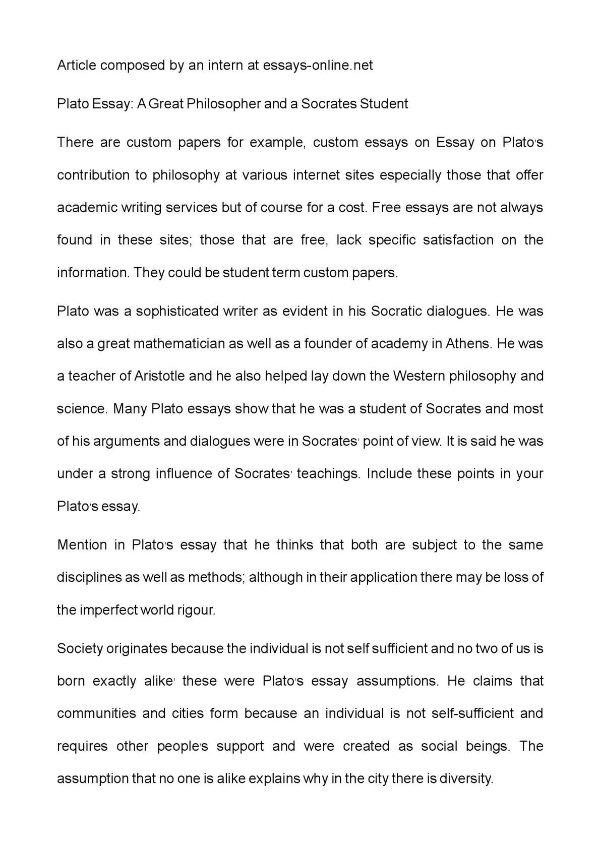 Calamo  Plato Essay A Great Philosopher And A Socrates Student  Extended Essay Topics English also Synthesis Essay Ideas  Should Condoms Be Available In High School Essay