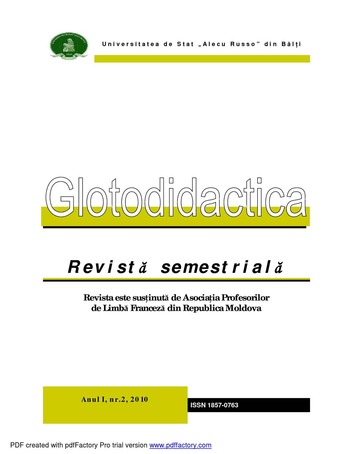 Glotodidactica Biannual Journal of Applied Linguistics, vol.2(I)2010
