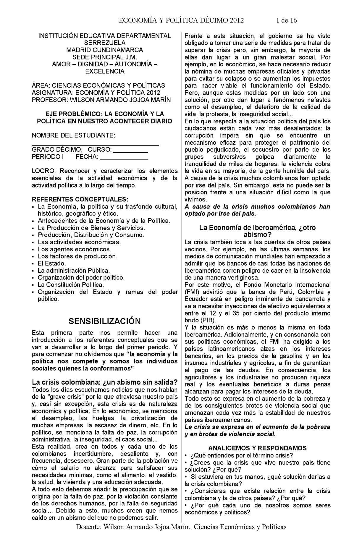 Guía de trabajo Economía y Política Décimo JM 2012