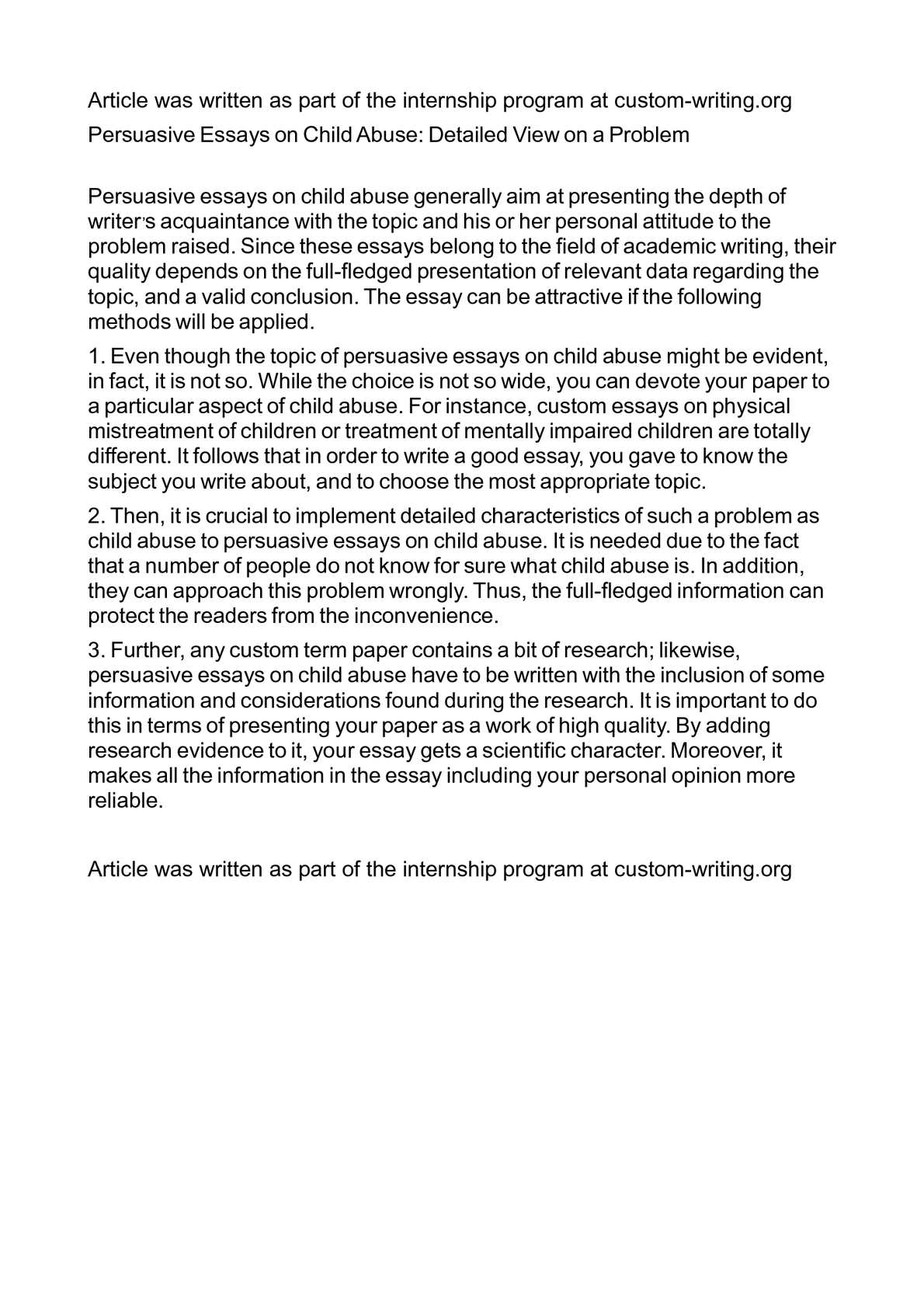 persuasive essays child abuse Persuasive essay on child abuse persuasive essay on child abuse - title ebooks : persuasive essay on child abuse - category : kindle and ebooks pdf - author :.