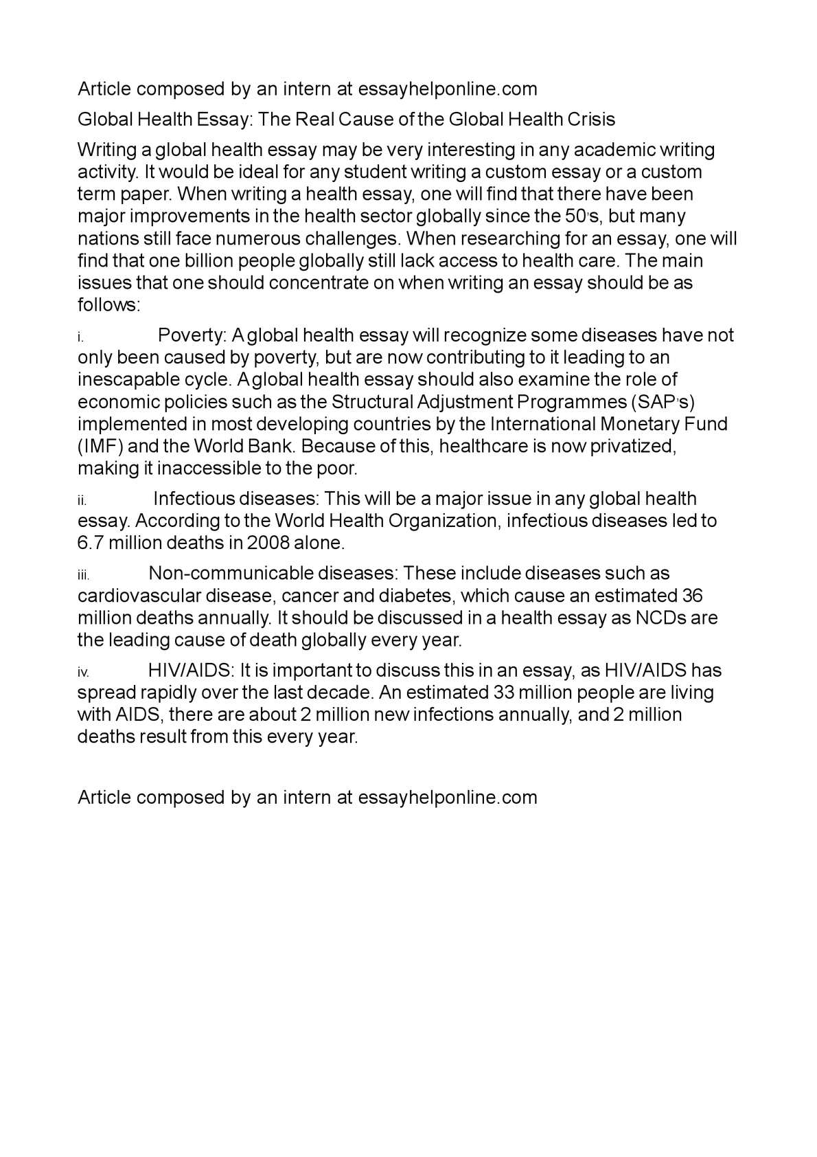 world health organization essay