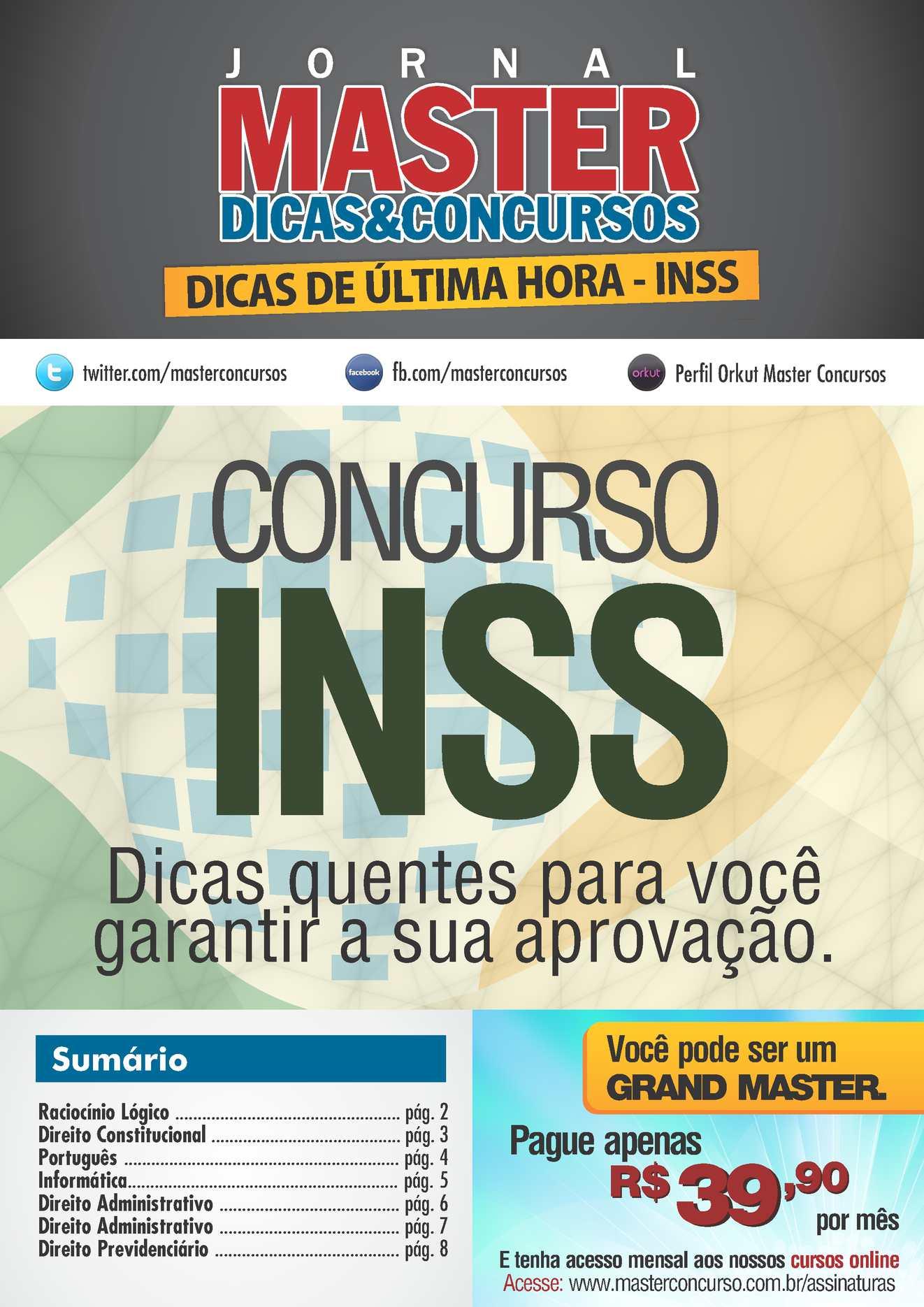 Dicas de Última Hora INSS - Master Concursos
