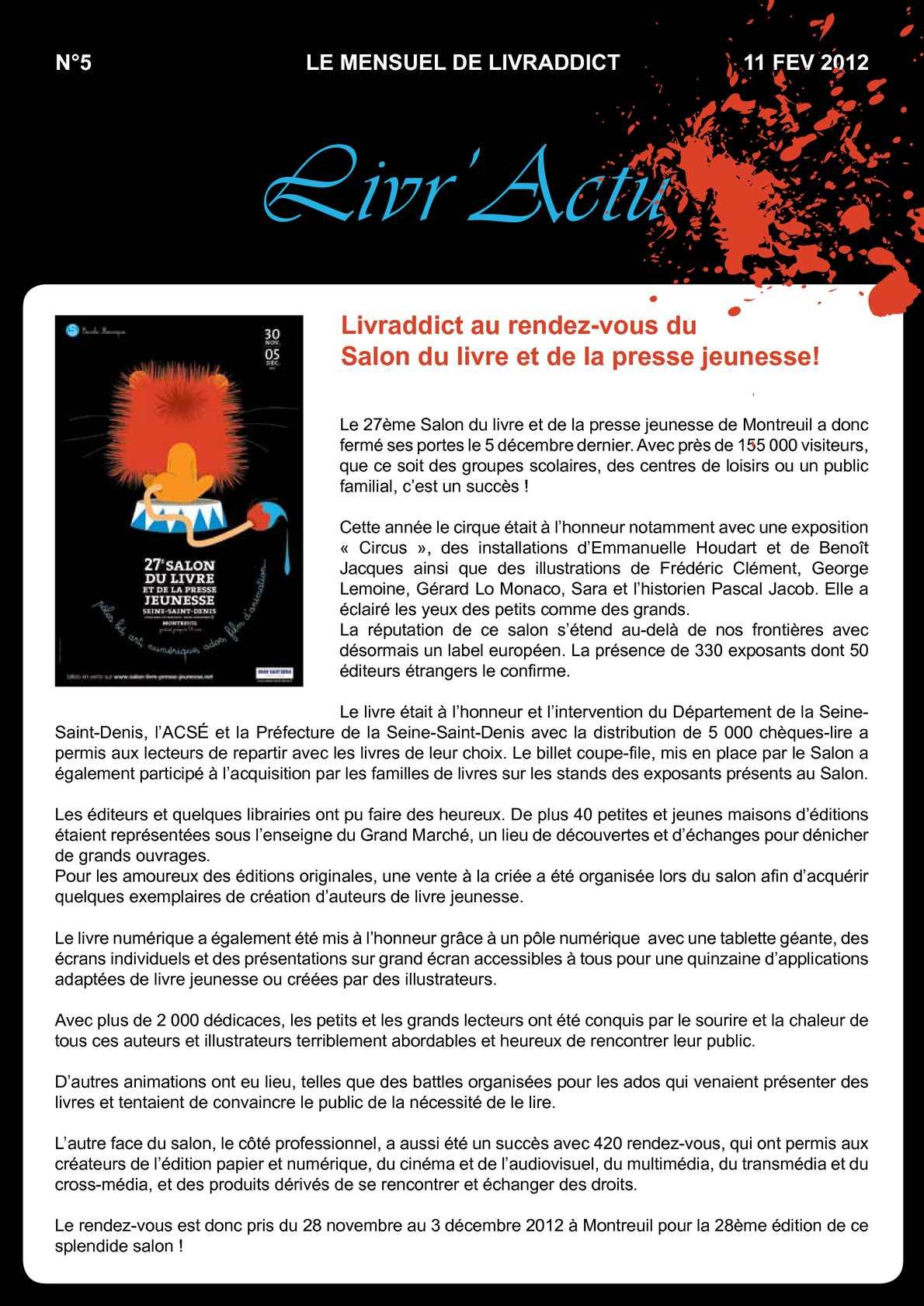 Calam o livr 39 actu n 5 sp cial salon du livre jeunesse de montreuil - Salon du livre jeunesse de montreuil ...