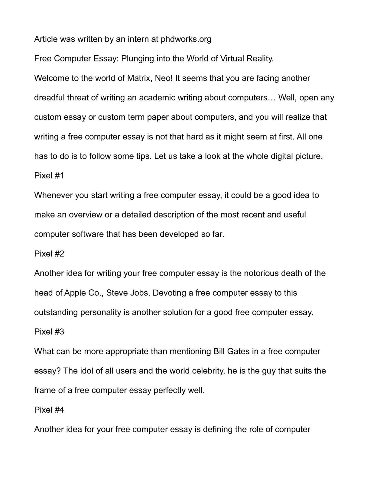 Calamo  Free Computer Essay Plunging Into The World Of Virtual  Calamo  Free Computer Essay Plunging Into The World Of Virtual Reality Health Care Essay Topics also Essay On Library In English  Will Pay Someone To Do My Assignment