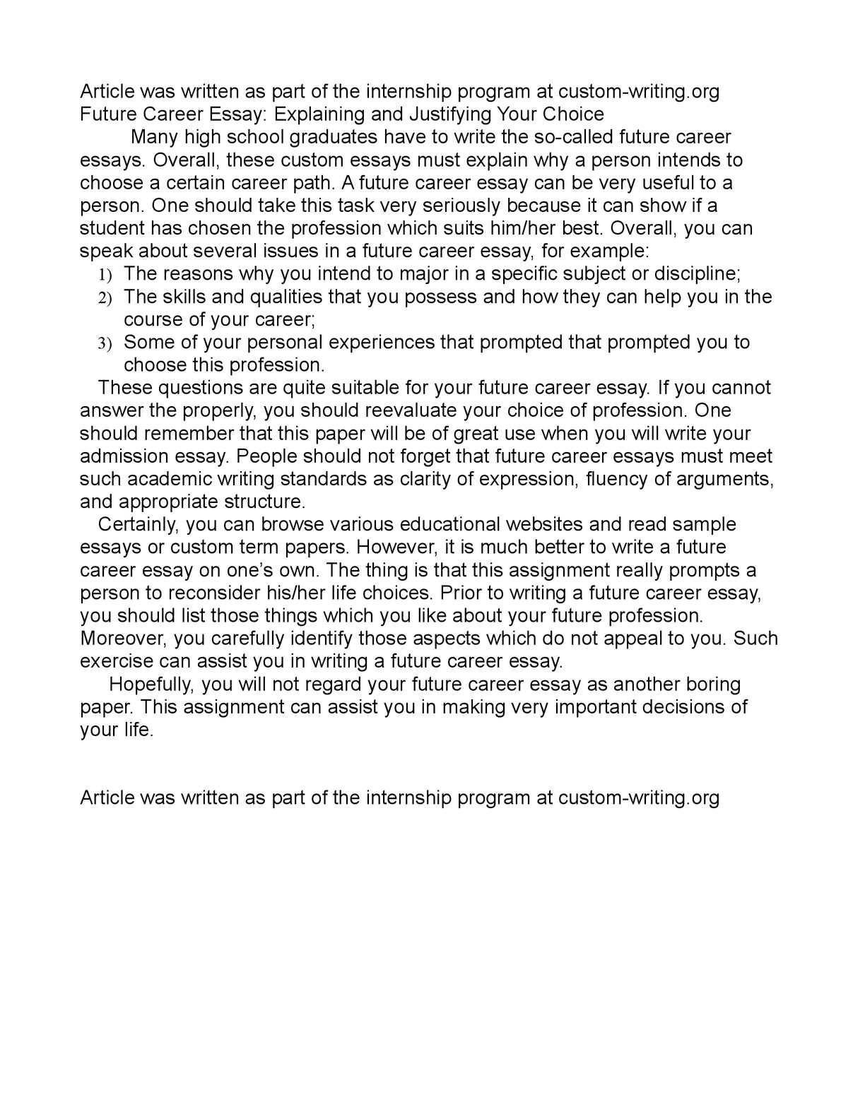 essay about your future career
