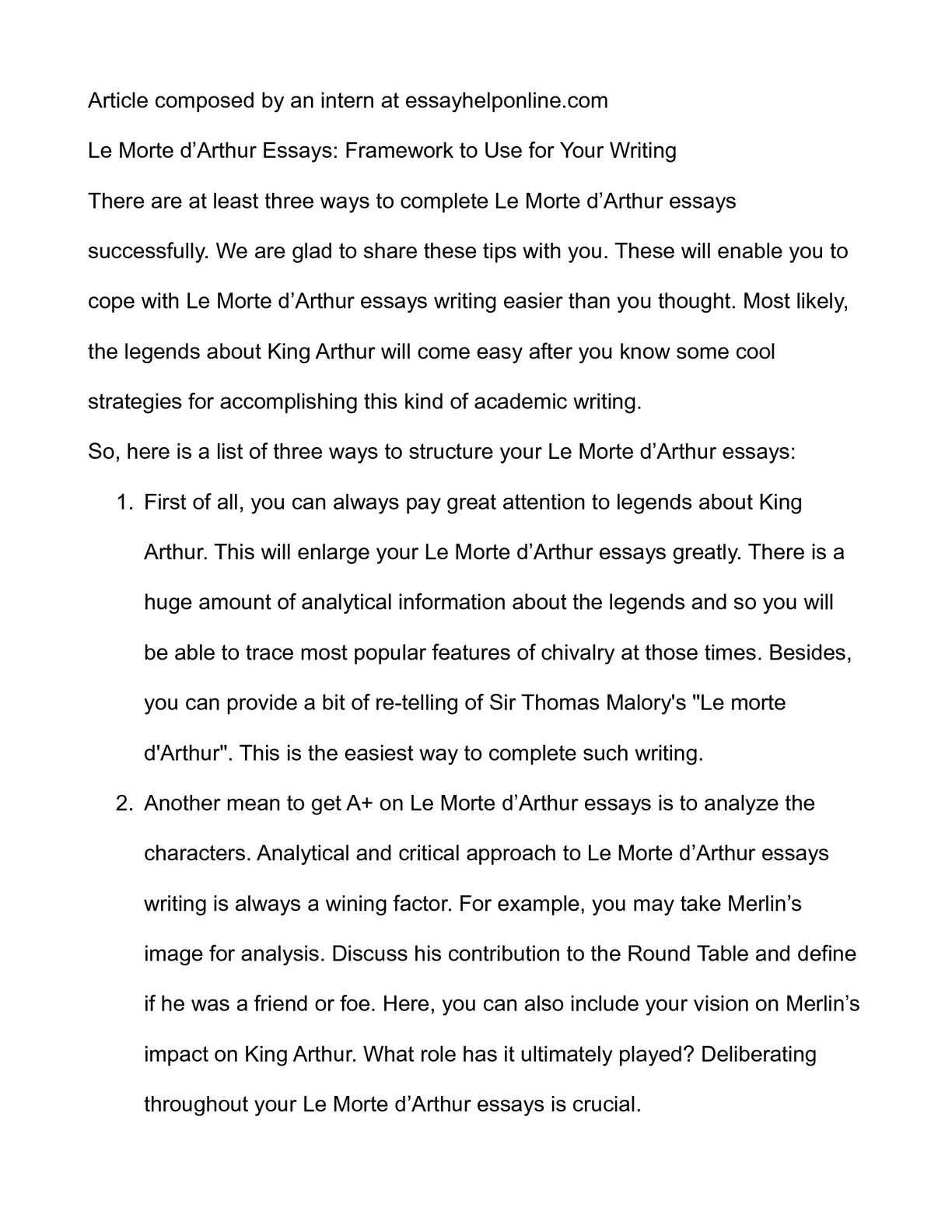 morte d arthur essays