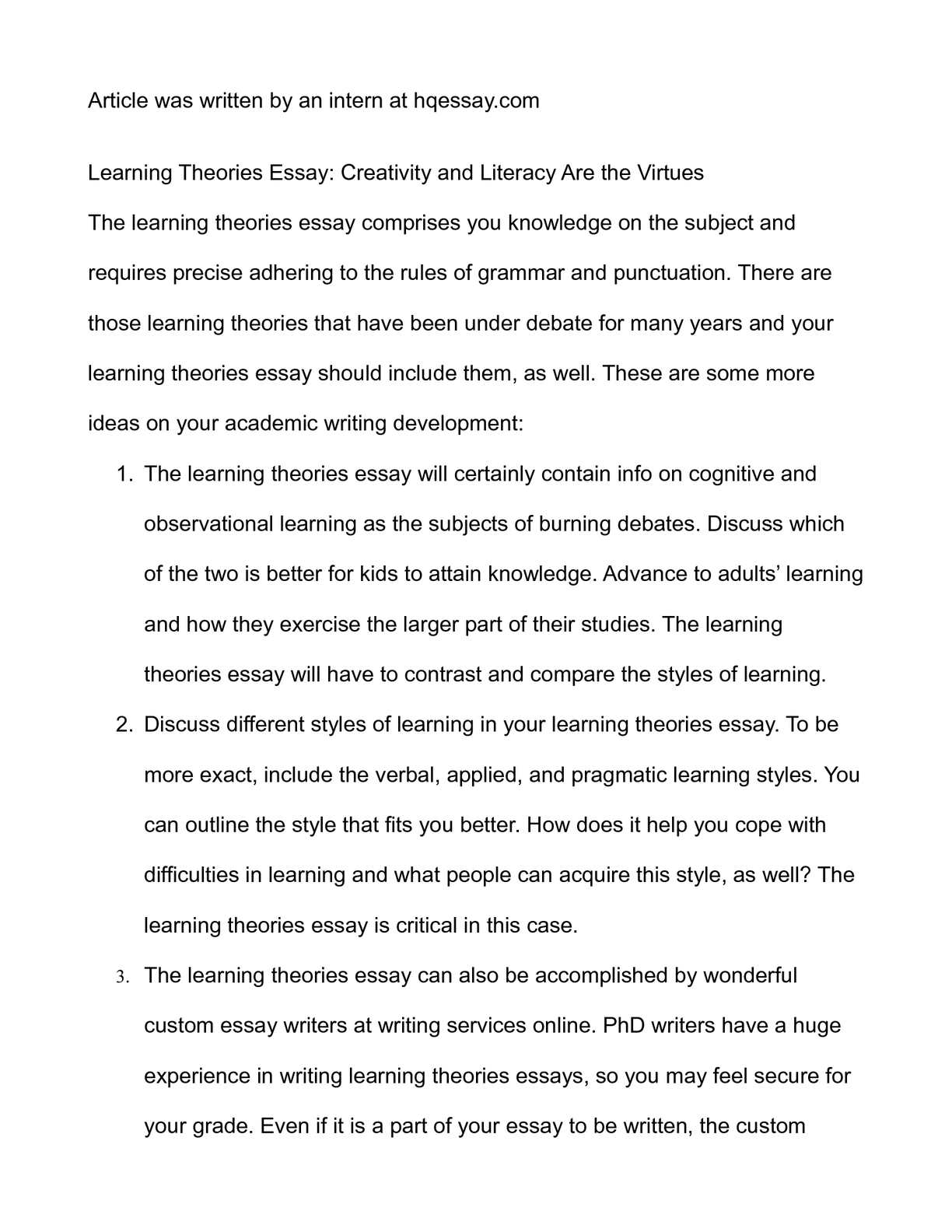 High School Reflective Essay Examples Calamo  Learning Theories Essay Creativity And Literacy Are The Virtues Reflective Essay Thesis also How To Write Essay Proposal Calamo  Learning Theories Essay Creativity And Literacy Are The  What Is A Thesis Statement For An Essay