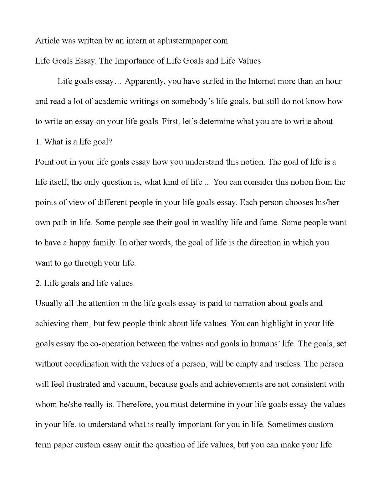 essay on life goals twenty hueandi co essay on life goals