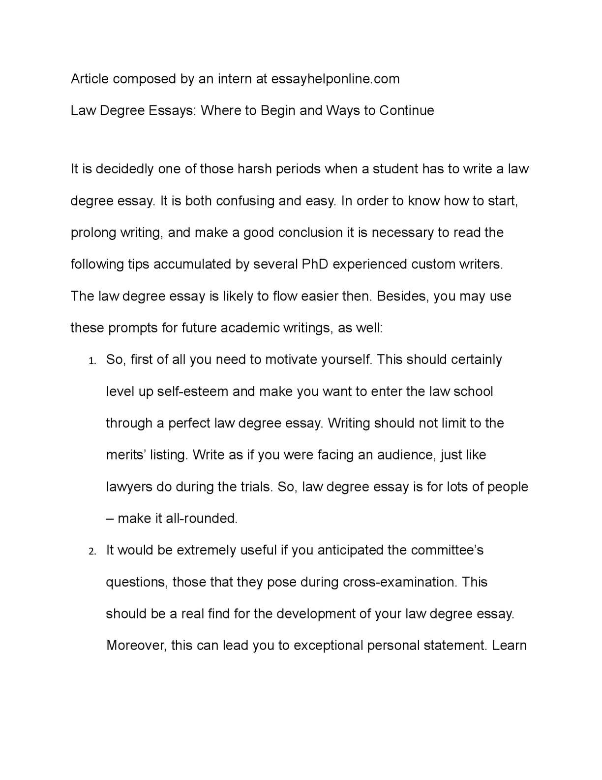 Calamo  Law Degree Essays Where To Begin And Ways To Continue  Interesting Essay Topics For High School Students also Best Online Writing  Custom Essay Papers