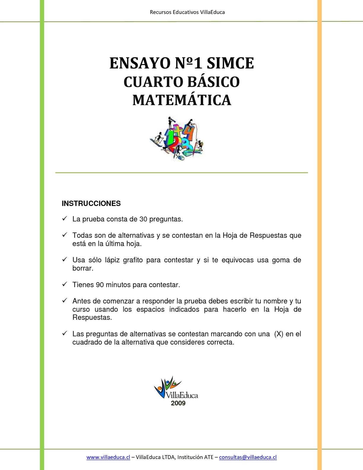 Calaméo - ENSAYO Nº1 SIMCE CUARTO BÁSICO MATEMÁTICA