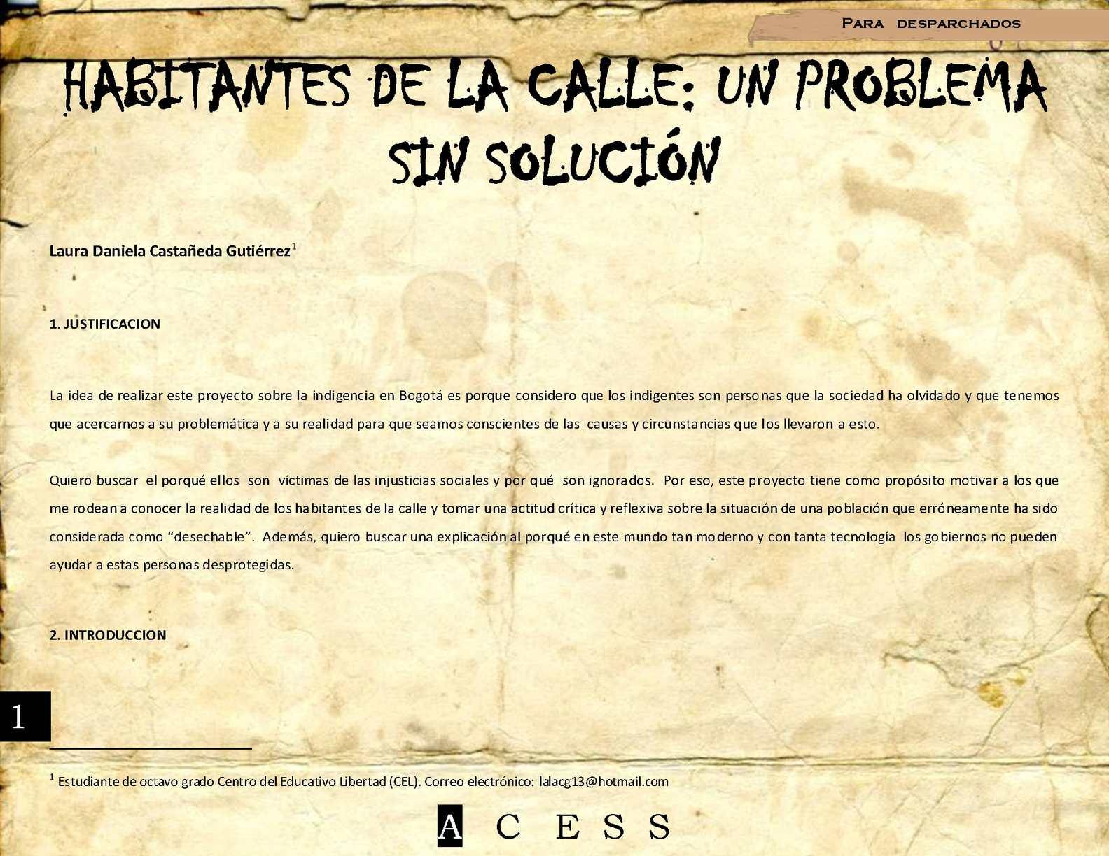 Calaméo - HABITANTES DE LA CALLE: UN PROBLEMA SIN SOLUCIÓN