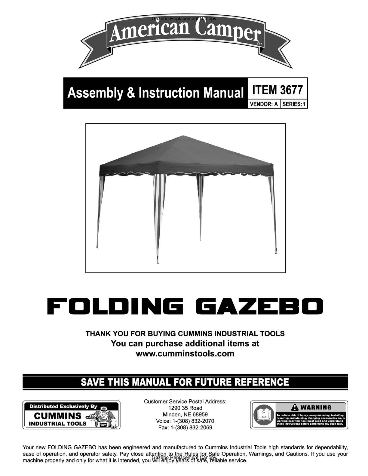 Calamo American Camper Folding Gazebo Assembly And Instruction