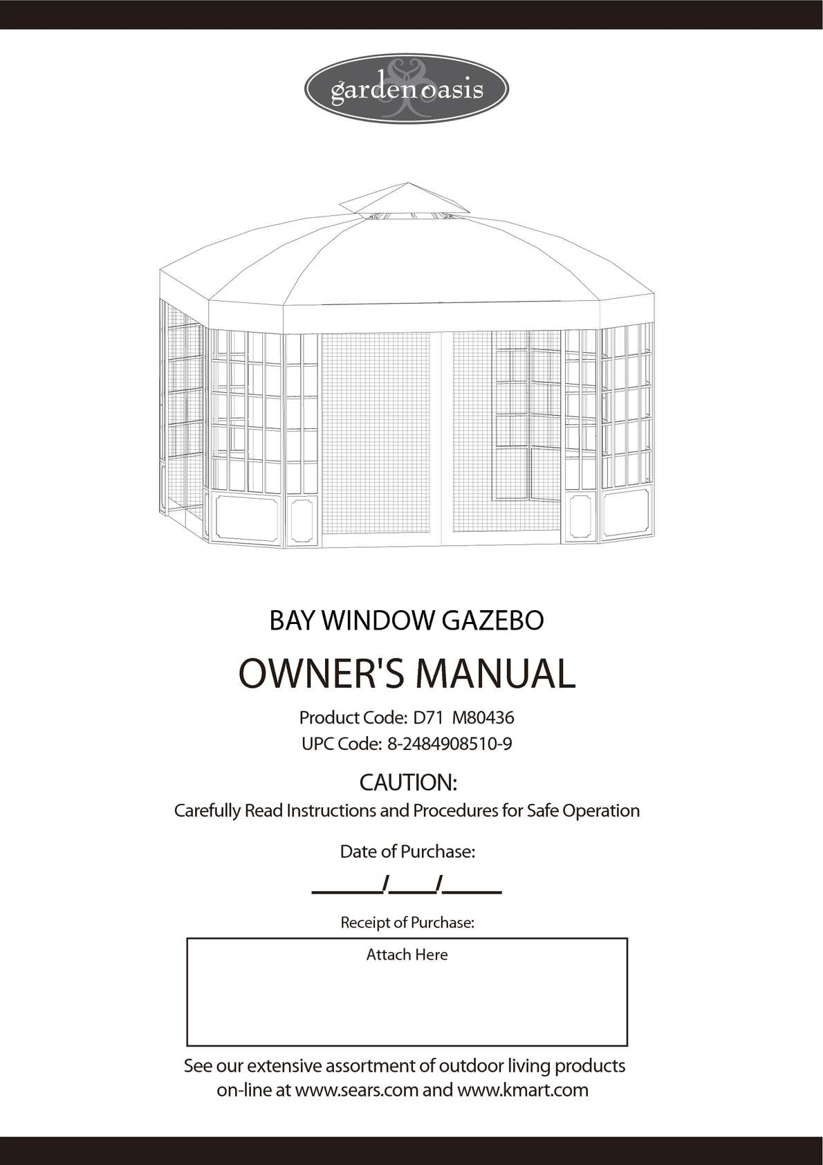 Calamo Bay Window Gazebo Assembly And Instructions Manual