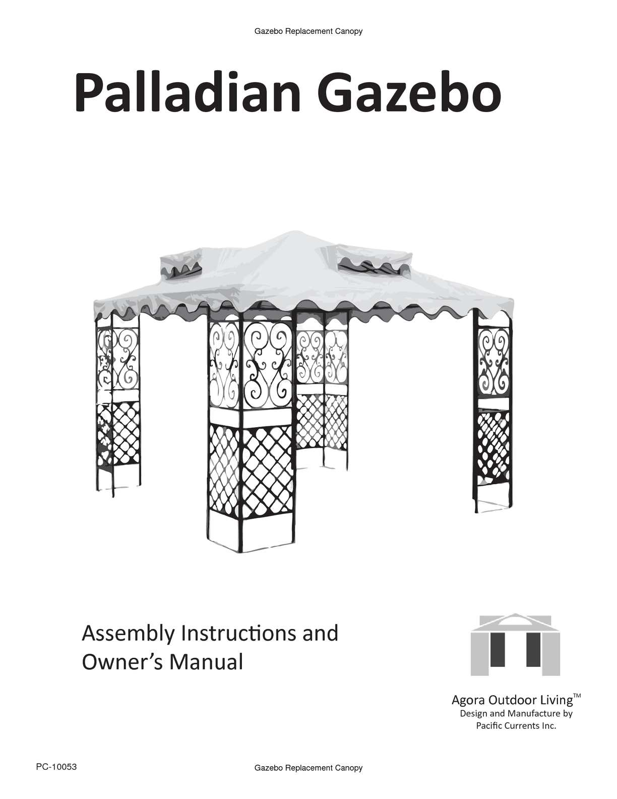 Calamo Palladian Gazebo Assembly Instructions And Owners Manual