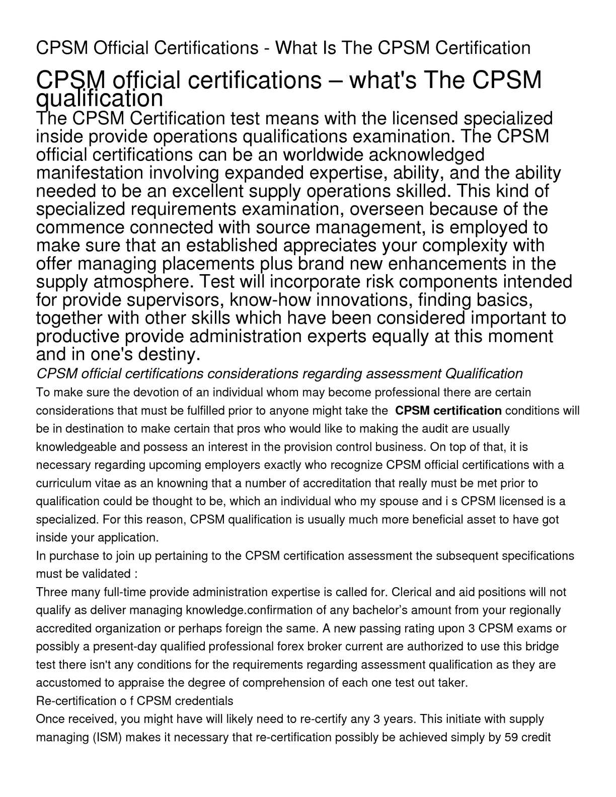 Calamo Cpsm Official Certifications What Is The Cpsm Certification