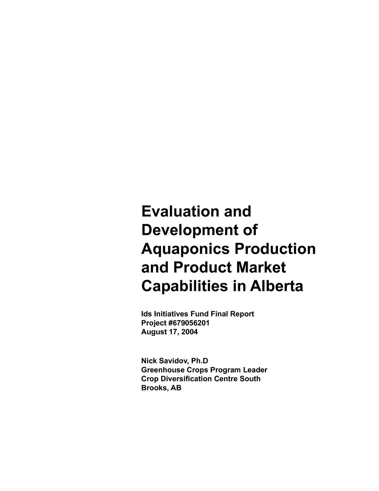 Bl system how many fish in a 55 aquaponics tank info - Calam O Evaluation And Development Of Aquaponics Production And Product Market In Alberta