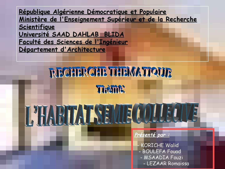 Calam o semi collectif for Habitat rural en algerie pdf