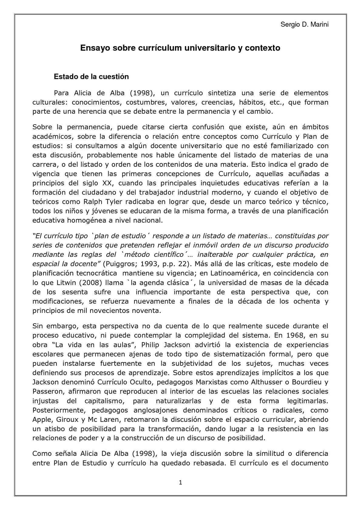 Calaméo - Ensayo sobre currículum universitario y Contexto