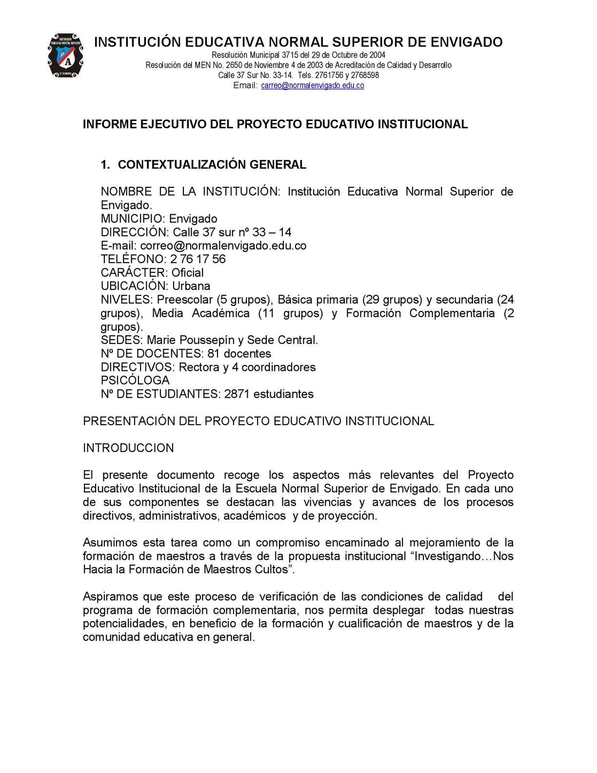 Informe Ejecutivo Del Proyecto Educativo Institucional