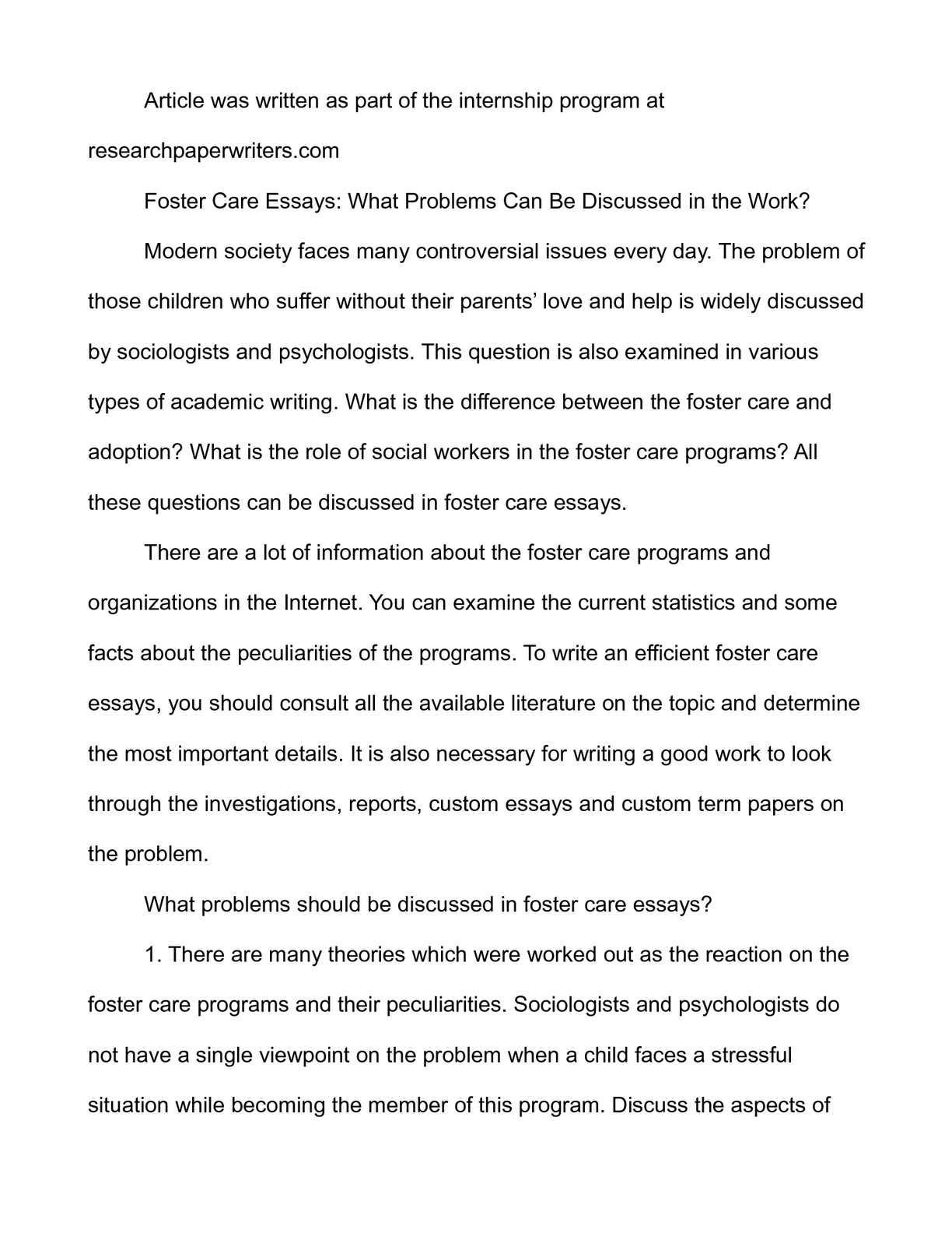 Calamo  Foster Care Essays What Problems Can Be Discussed In The  Calamo  Foster Care Essays What Problems Can Be Discussed In The Work Example Thesis Statement Essay also Essay Writing Scholarships For High School Students  A Modest Proposal Essay Topics