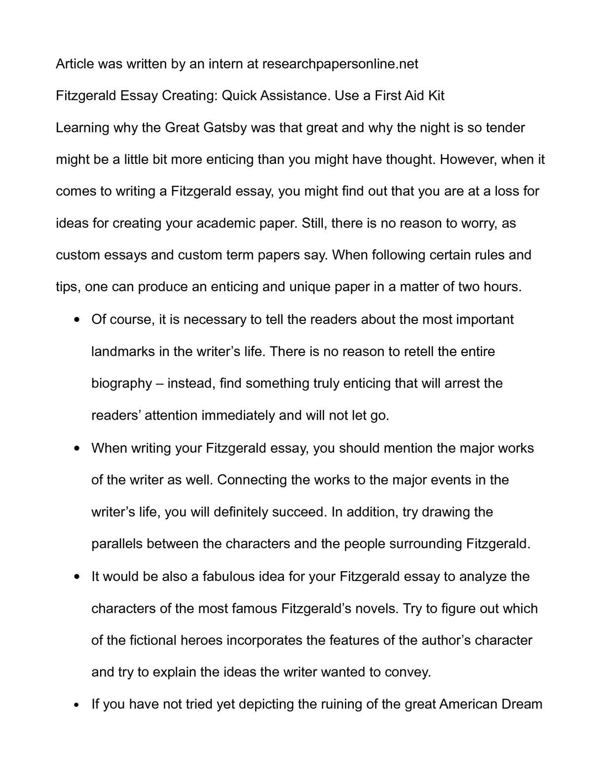 Calaméo - Fitzgerald Essay Creating: Quick Assistance. Use a First ...