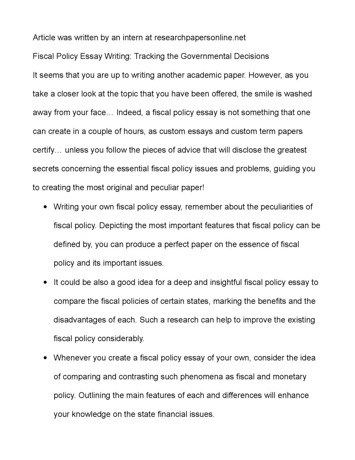 Calamo  Fiscal Policy Essay Writing Tracking The Governmental  Calamo  Fiscal Policy Essay Writing Tracking The Governmental Decisions