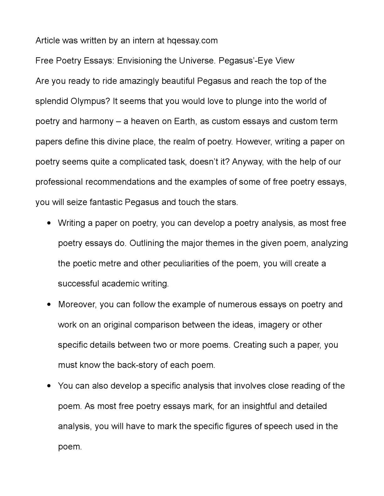 Sample Essay Thesis Calamo  Free Poetry Essays Envisioning The Universe Pegasuseye View English Model Essays also Cause And Effect Essay Papers Calamo  Free Poetry Essays Envisioning The Universe Pegasuseye  Personal Essay Examples For High School