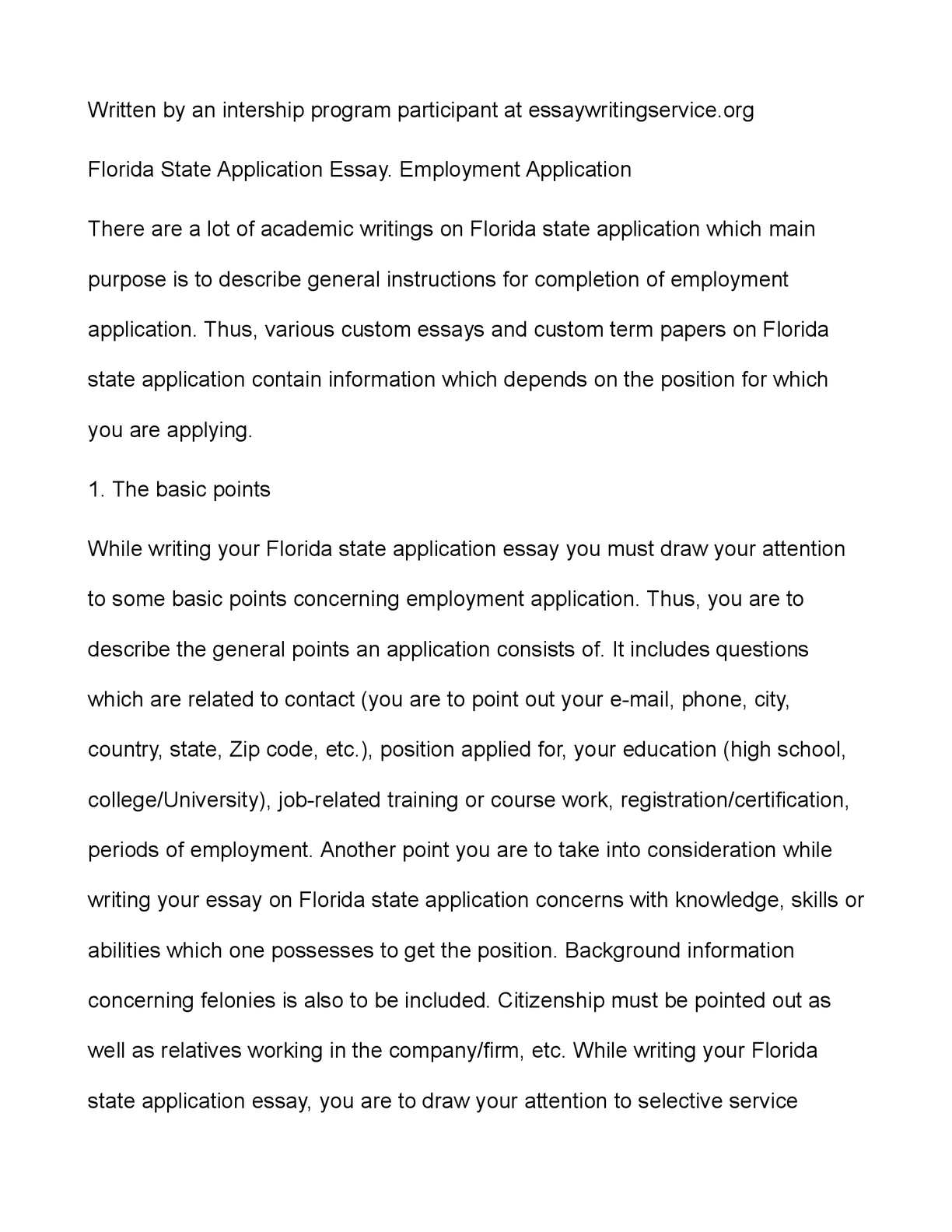 calaméo florida state application essay employment application