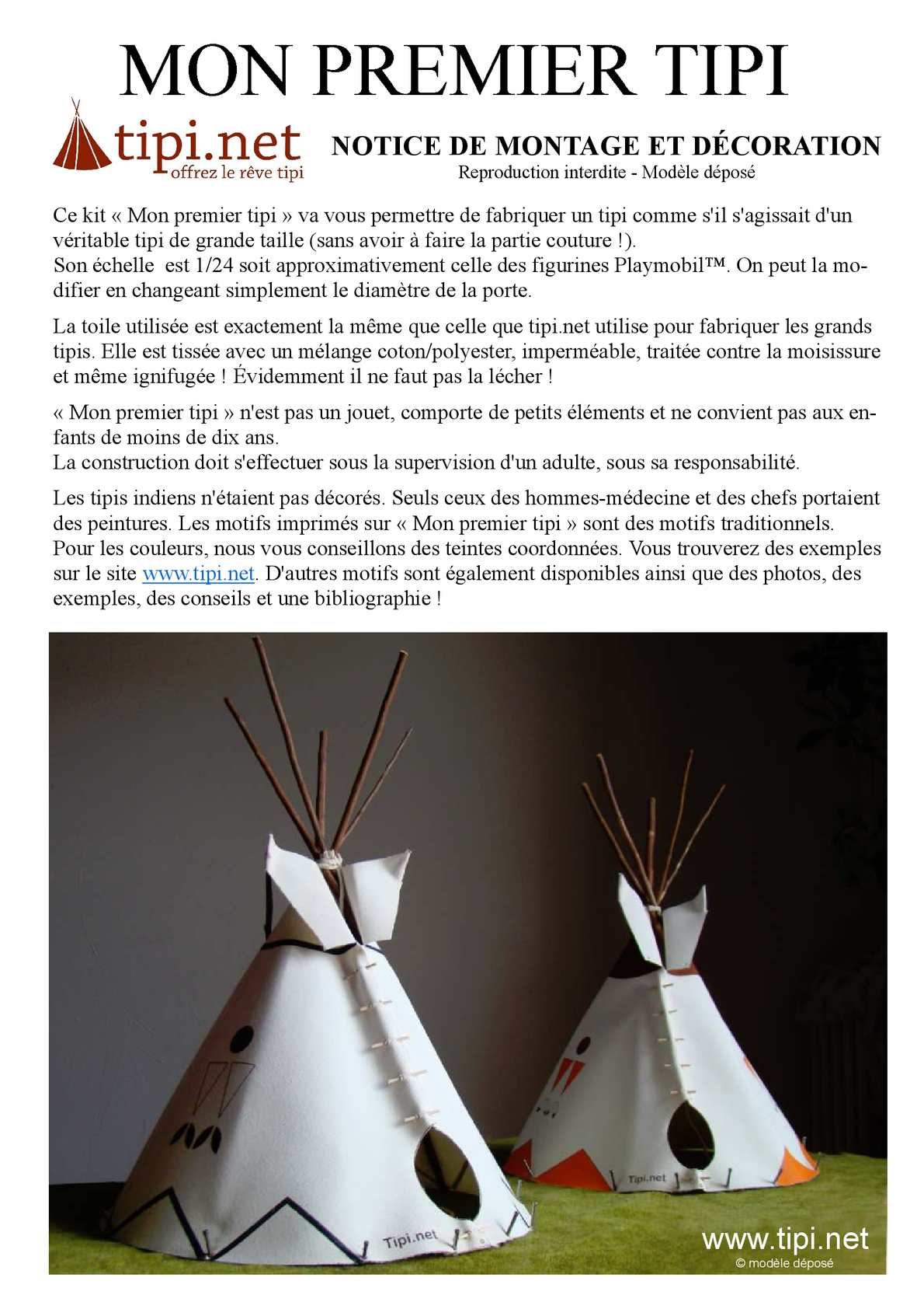 Calam o notice mini tipi 2012 - Comment faire un tipi ...
