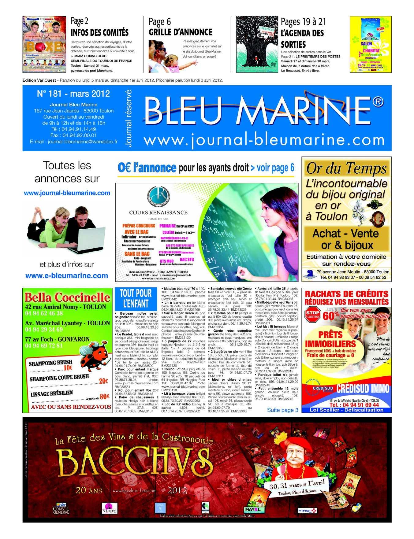 calam o journal bleu marine n 181 mars 2012